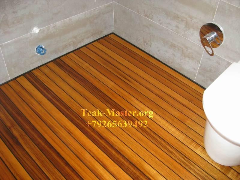 Фото объекта тиковый пол в ванной от тик-мастер!, москва, не.